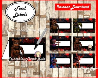 Five Nights at Freddys Food labels, printable FNaF party food tent cards ,Five Nights at Freddy's food tent cards