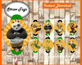 Kung Fu Panda Straw Tags, printable Kung Fu Panda party Straw Tags, Kung Fu Panda toppers