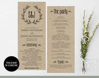 Printable Wedding Program, Wreath Ceremony Program Template, Rustic Wedding Program, Instant Download, PDF, WLP348