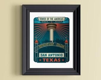 San Antonio art   San Antonio Texas   San Antonio skyline   SATX   San Antonio print   San Antonio, TX   Texas gift   Worlds fair