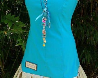Turquoise blue couture dress, designer dress, sleeveless dress, summer dress