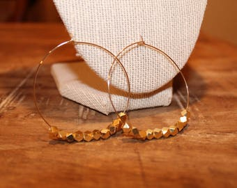 Beaded Gold Thin Hoop Earrings