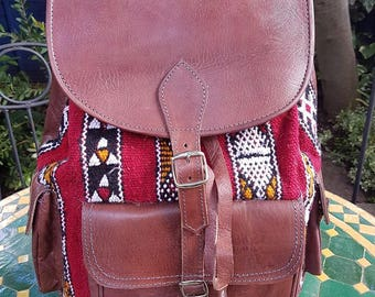Handmade leather backpack with tapestry panel - large