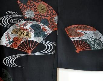 Silk haori/japanese kimono robe/women's kimono jacket/black kimono top/vintage kimono cardigan/japanese clothing/silk jacket/boho bohemian