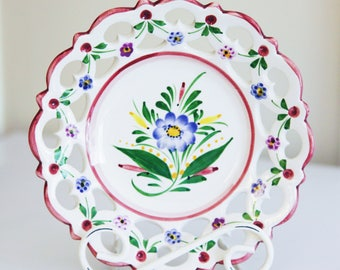 Hand Painted Pottery Wall Plate , Made in Portugal
