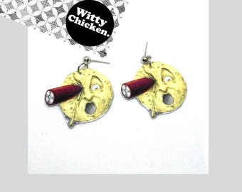 Georges Melies Trip to the Moon Earrings, Vintage Moon Earrings, Paper Earring, Laminate, Fun Earring, Funny Gift, Novelty Jewelry,