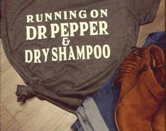 Running on Dr. Pepper T shirt