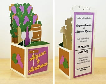 Pop Up Winery Wedding Invitation, Vineyard Wedding Invitation, Wine & Grapes Invitation, Custom 3D Box Card, Personalized, CardBloom