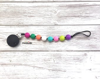 Baby pacifier holder, silicone pacifier chain, food grade silicone, silicone chew toy, baby safe, custom product, pixelated, Mâchouille