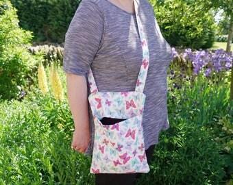 Pastel butterflies peg bag - shoulder bag - free hands washing bag - cross chest or over the shoulder