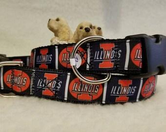 Illinois Handmade Dog Collar 1 Inch Wide Large & Medium