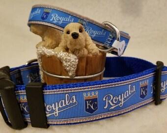 Royals Baseball Handmade Dog CollarLarge 1 Inch wide / Medium 5/8 Inch Wide