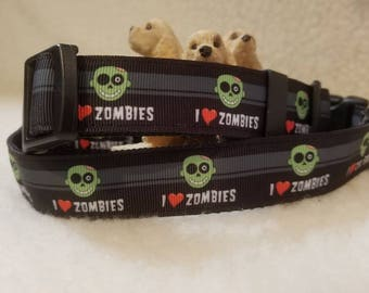 I Love Zombies Handmade Dog Collar 1 Inch Wide Medium Only