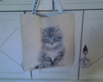 Tote bag with cat pattern