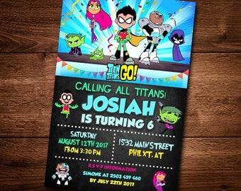 Teen Titans Go Invitation Card, For Kids, Cartoon, Invite Card, Teen Titans Go