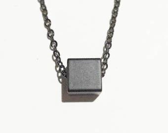 Minimal Black Cube Pendant Necklace - Hematite Chain Necklace- Everyday Necklace- Simple Necklace