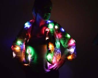 Light Up white fake fur coat, faux fur jacket M, vegan fur, funky festival wear, bohemian LED fur coat, Burning Man Playa gear, cosplay fur