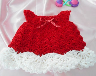 Red Crochet Baby Dress Party Dress Holiday Day Dress Birthday or Just to Play in