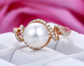 akoya pearl engagement ring14k rose gold bridal wedding ringbirthday giftanniversarystacking - Pearl Wedding Ring Sets