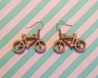Wooden lasercut bicycle drop earrings – lightweight and fun Dutch bike earrings