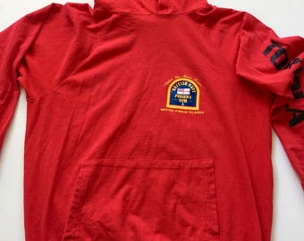 1970's Red hooded shirt Vintage red hoodie pullover British Navy sz Small