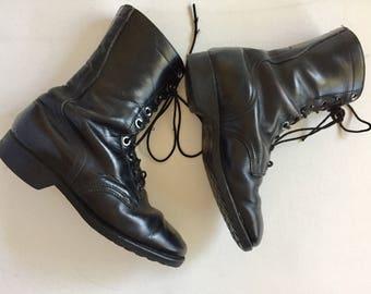 1970's military boots vintage black combat boots Genesco Men's size 6
