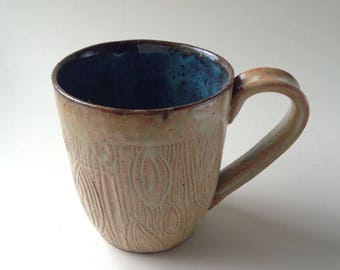 Antique White Hand Carved Ceramic Mug, 10oz.