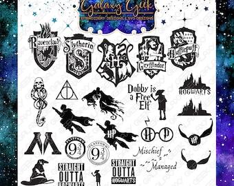 Harry Potter SVG bundle harry potter crests sorting hat svg hogwarts svg deathly hallows svg geek svg harry potter cutting files bundle