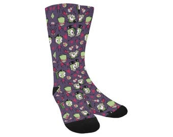 Invader Zim Socks - Knee High Socks Gir Socks Robot Dog Socks Alien Socks Irken Socks Cartoon Socks Comiccon Socks Invader Socks