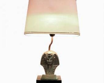 Hollywood regency pharaoh table lamp 1970s - vintage regency table lamp - vintaeg sculptural table lamp - vintiques
