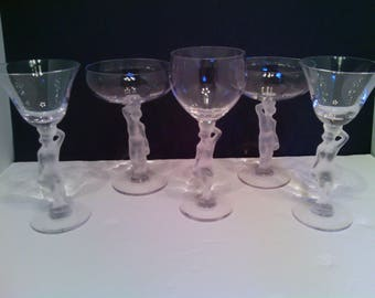 Vintage 5 pc. Retired Bayel Baccante - France Crystal Satin Figural Stemware Cordial / Sherry/ Champagne