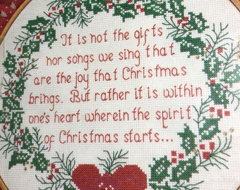 "Vintage ""Spirit of Christmas"" Needle Treasures Counted Cross Stitch Kit by Marcia Harris, on White 14 Count Aida, Wooden Hoop Included"