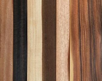 Ringmaking Essentials Mix: 6 sheets of real wood veneer [M8] / veneer sample pack / wood veneer mix / bentwood ring veneer / diy wood ring
