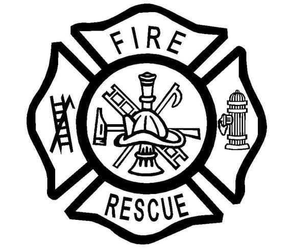 fire dept rescue maltese cross vinyl decal window laptop