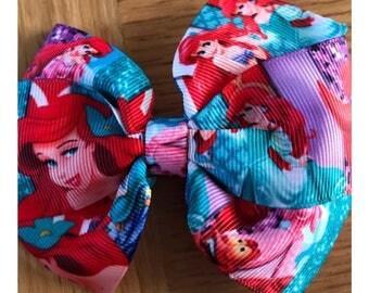 """Handmade 4"""" the little mermaid (ariel) hair bow in a clip"""