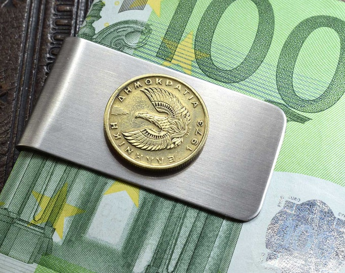 1973, Phoenix Money Clip, Greece Drachma, Coin Money Clip, Anniversary 1973, Kyanite, Birthday 1973, Phoenix Coin Gift, Greek Coin 1973 Gift