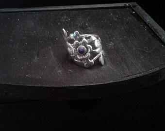 Sterling Silver and Enamel Floral Ring, Vintage Grunge