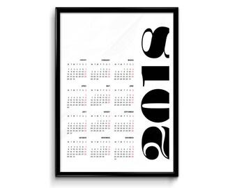 Printable 2018 Calendar - typographic calendar, printable planner, academic calendar, wall calendar, A4, A3 and US letter