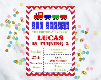 Birthday invitation, customized downloadable invitation, train birthday, train birthday invitation