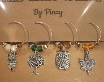 Autumn Owl Wine Glass Charms - Set of 4