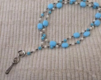 Frosty Blue Winter Hued Convertible ID Badge Lanyard Necklace