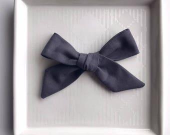 Charcoal Hand Tied Bow - Baby Girl Nylon Headband and Bows - Girls Fabric Bow - Newborn Bow - Simple Bow - Gray Headband - Fall Bow