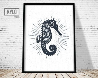 Nautical Quote, Nautical Typography, Nautical Illustration, Nautical Print, Nautical Poster, Seahorse Print, Seahorse Poster, Nautical Decor
