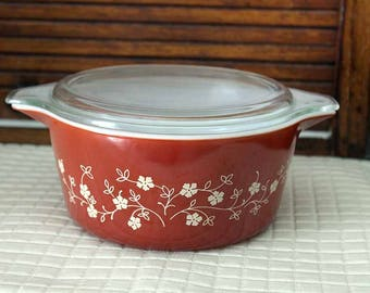 Pyrex 473 Casserole with Lid, Trailing Flower Casserole Dish, Rust Trailing Flowers Casserole Dish, Pyrex 473