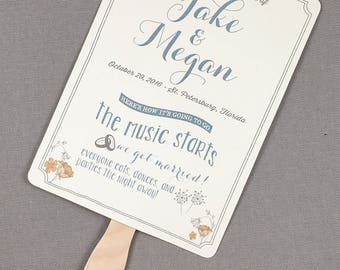 Rustic Smokey Blue and Yellow Vintage Floral Wedding Ceremony Program Fans - TE1