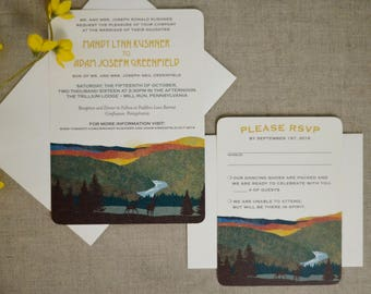 Pennsylvania Hills Fall Wedding Invitation with RSVP and Envelopes // Wedding Announcement // BP1