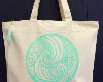 Tote Bag, Beach Bag, Riptide, Tassle, Carry-All Bag, Zipper-top, Zippered Inner pocket, Market Bag, Reusable Bag, Silkscreen, Handmade