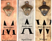MONOGRAMMED Custom Magnetic Cast Iron Bottle Opener in 3 colors & 3 Styles)! Great gift for 6th Anniversary! Laser Engraved! Cap catcher.