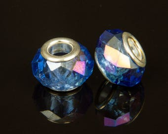 5 beads style European o14 glass faceted blue - 28313