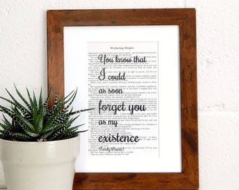 Wuthering Heights Vintage Book Quote - Emily Bronte Literary Print - Romantic Gothic Novel Wall Art - Book Lover Gift - Gift for Partner